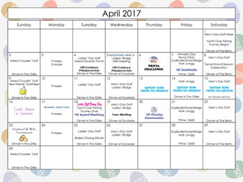 2017 April Calendar Harbour Ridge style=