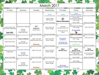 2017 March Calendar Harbour Ridge style=